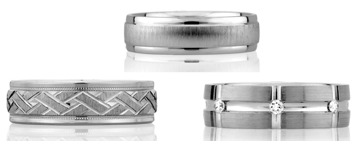 A. Jaffe men's wedding bands at Golden Nugget Jewelers